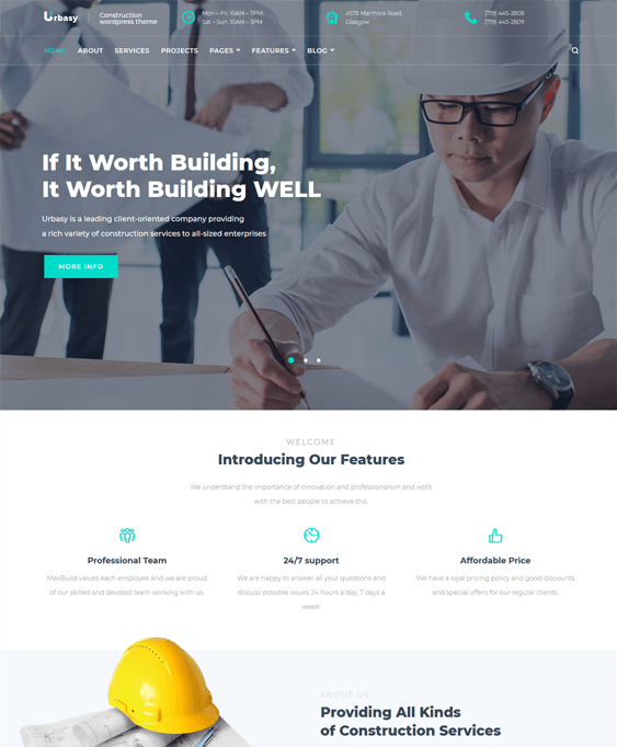 urbasy wordpress themes construction company building contractor