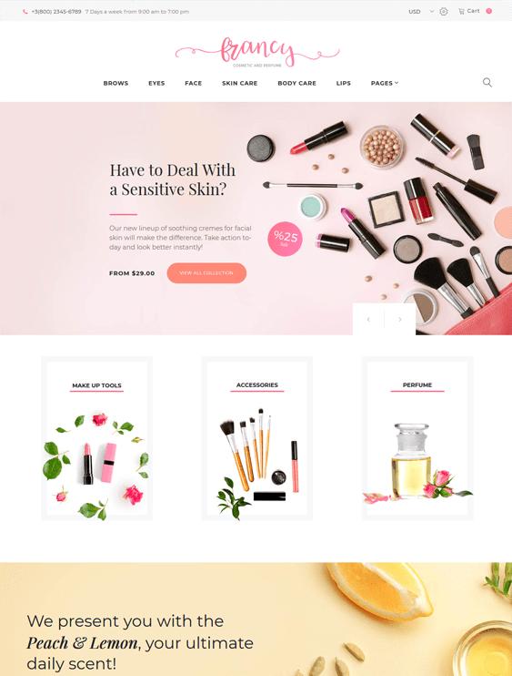 wordpress themes cosmetics beauty products