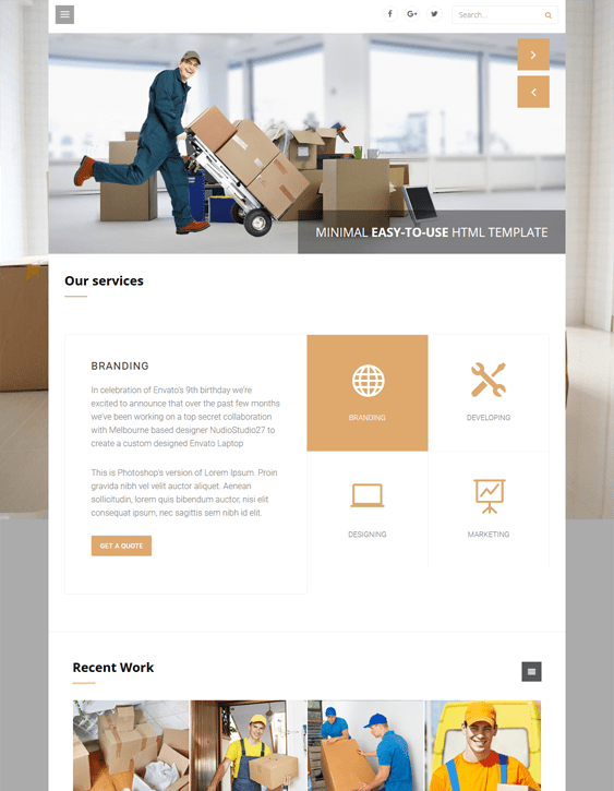 wordpress themes moving company mover
