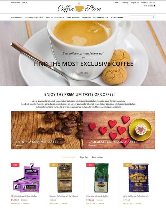 prestashop themes online coffee stores