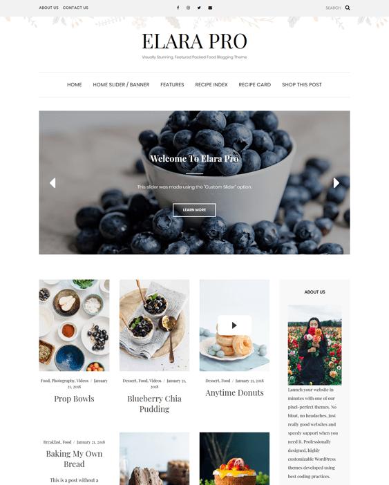 wordpress themes food blogs recipe websites