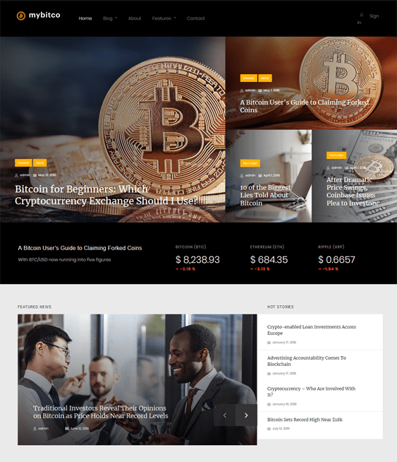 finance wordpress themes financial websites