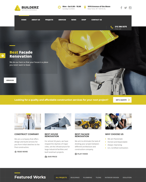 construction building contractor wordpress themes