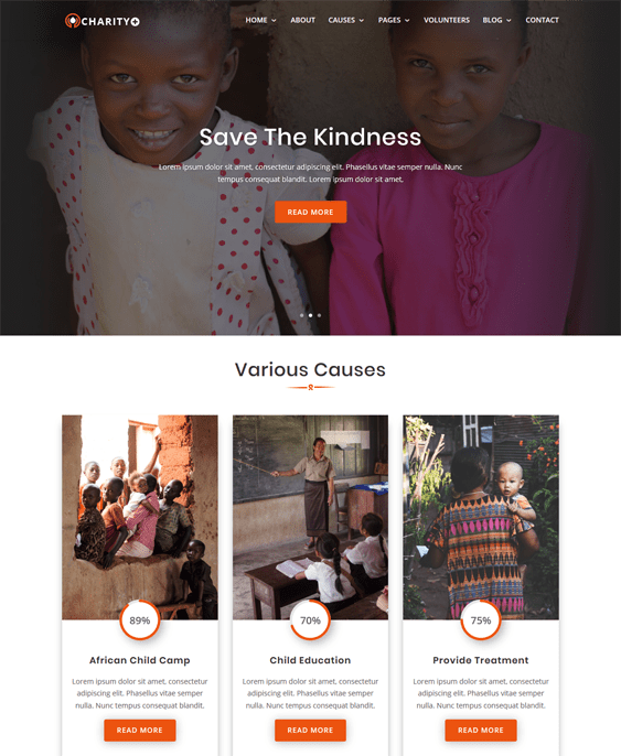 charity nonprofit wordpress themes