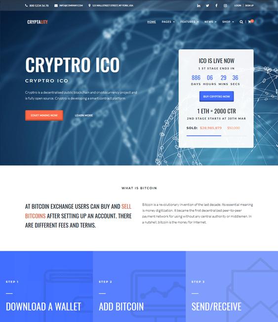 cryptocurrency bitcoin wordpress themes