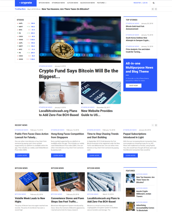 cryptocurrency bitcoin wordpress themes