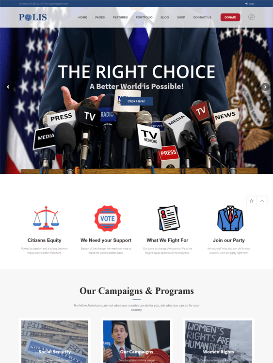 political wordpress themes politicians causes political parties