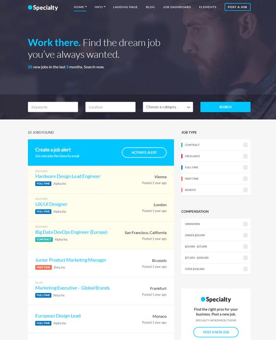 wordpress themes online job boards employment websites