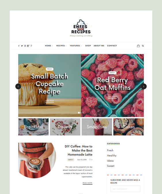 wordpress theme food blogs recipe websites