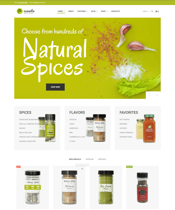 woocommerce themes food drink stores
