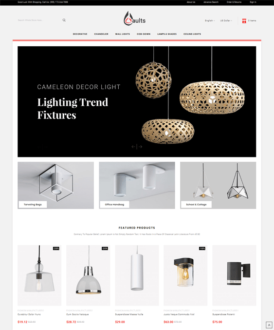 prestashop themes for lighting and lamp stores