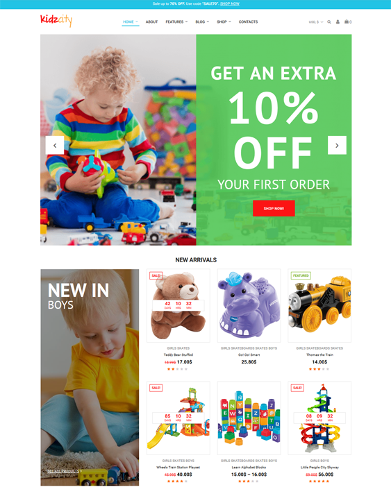 woocommerce themes kids babies children