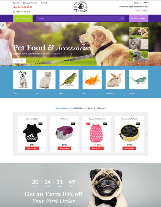 opencart themes pet stores