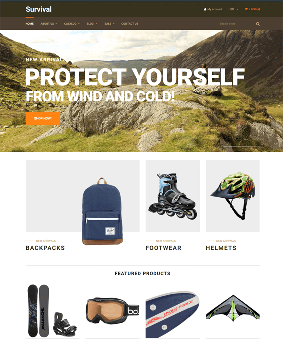 shopify themes outdoor goods camping equipment