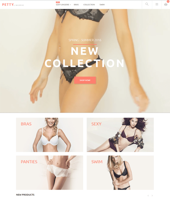 magento themes for lingerie underwear stores