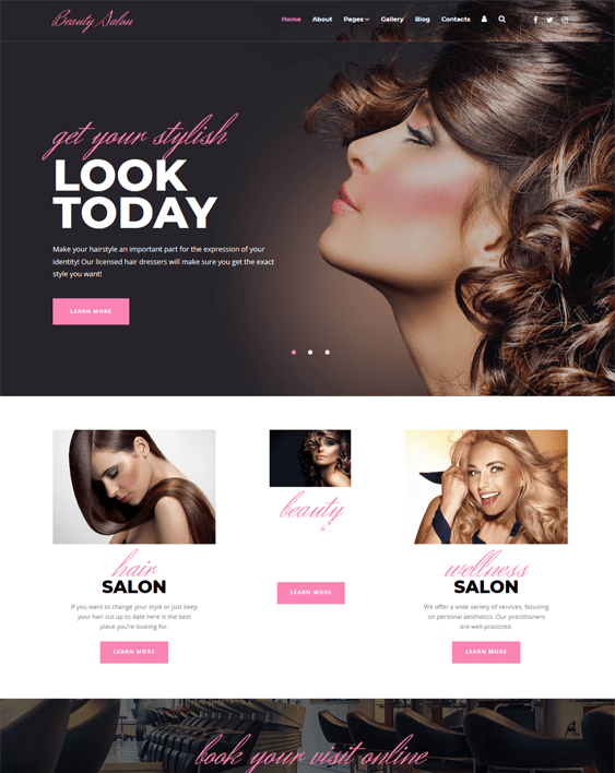 joomla templates beauty spas hair salons