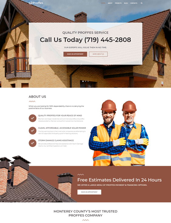 wordpress themes building contractor construction company