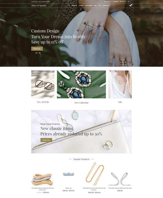 shopify themes for watch jewelry stores