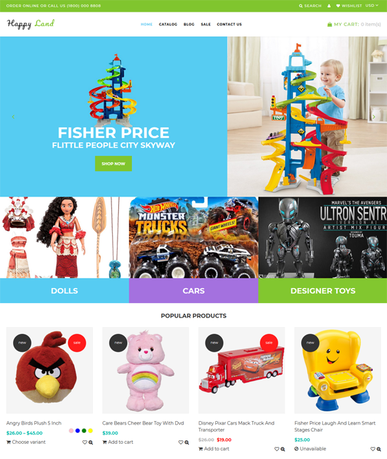 shopify themes for selling toys and games