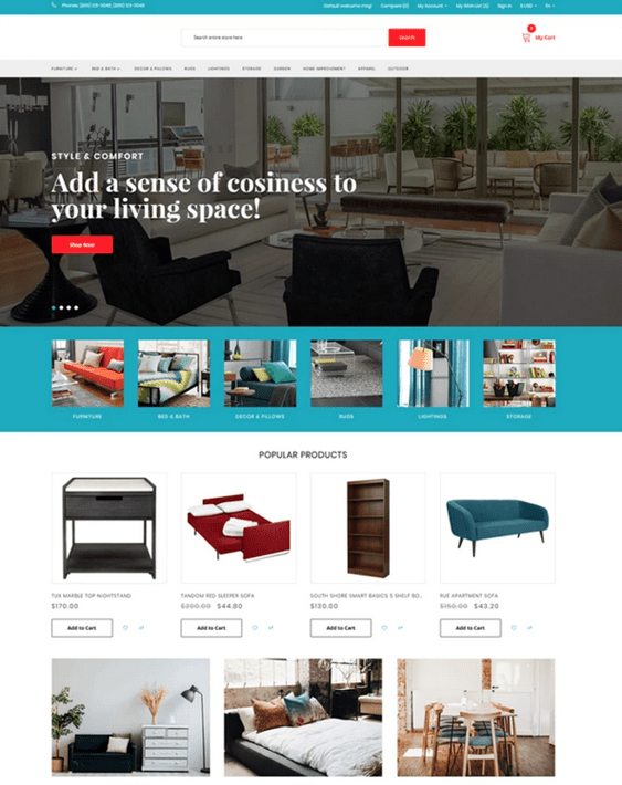 opencart themes for furniture stores