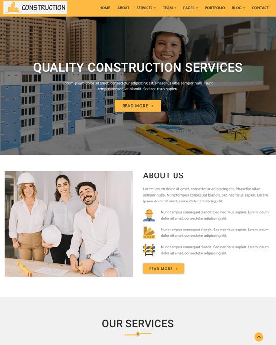 wordpress themes construction companies building contractors