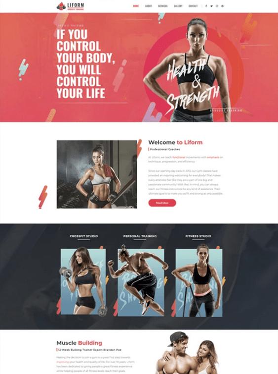 wordpress themes fitness gym websites