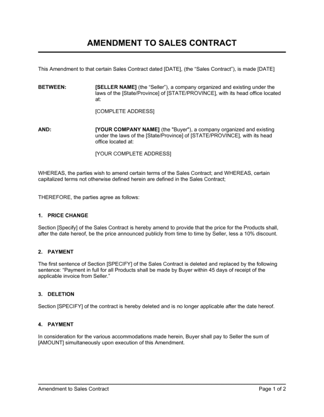 Amendment to Sales Contract Template  by Business-in-a-Box™