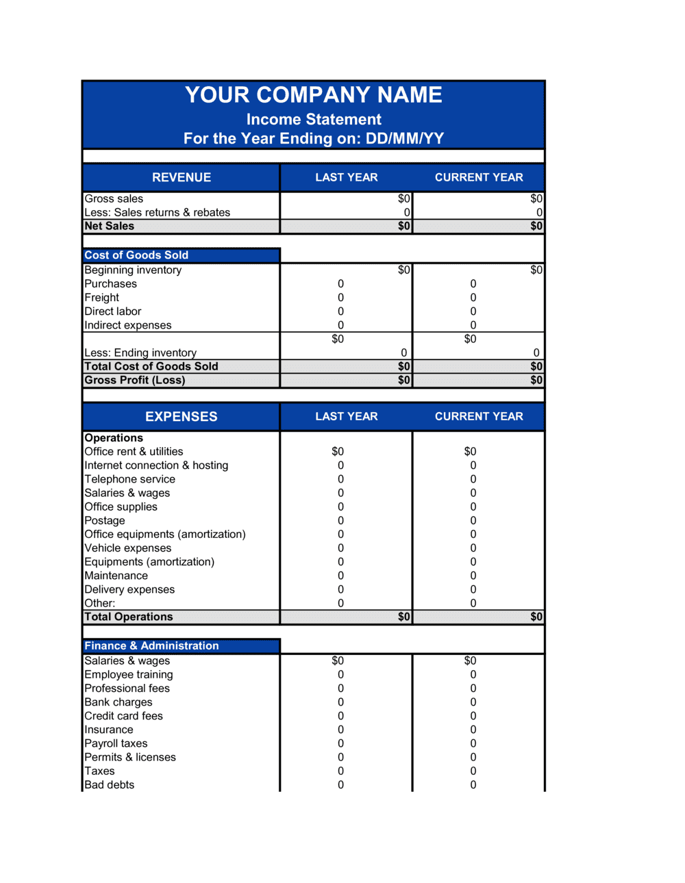 Download a free income statement template for excel and other financial statements. Income Statement Template By Business In A Box
