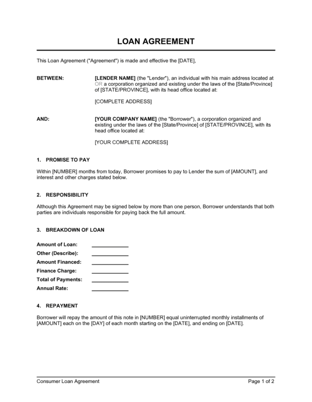 Loan Agreement Template  by Business-in-a-Box™