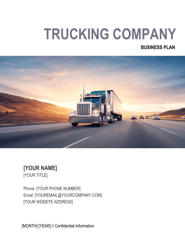 Trucking Company Business Plan Template  by Business-in-a-Box™