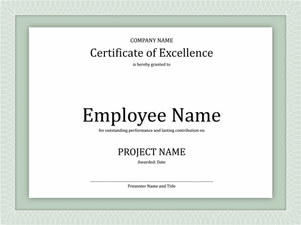 Certificate Of Excellence For Employee - Free Certificate ...