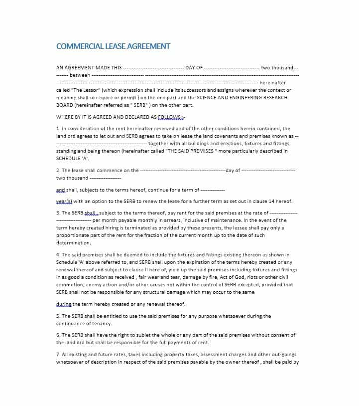 Free Commercial Lease Agreement Templates Businesscommercial