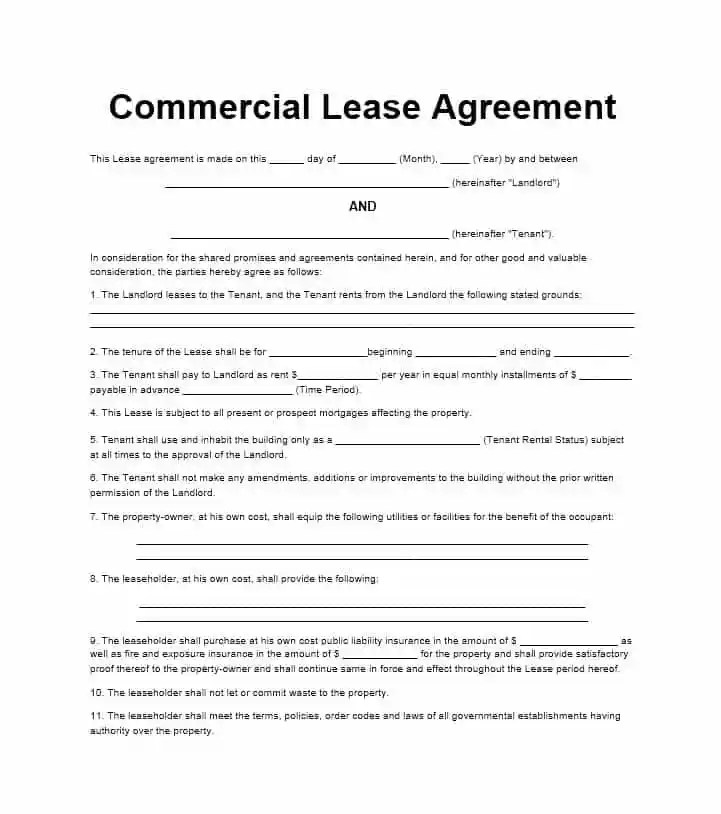 free commercial lease agreement templates business commercial residential word template section. Black Bedroom Furniture Sets. Home Design Ideas