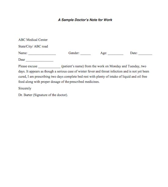 Free DoctorS NoteExcuse Note Templates Template Section