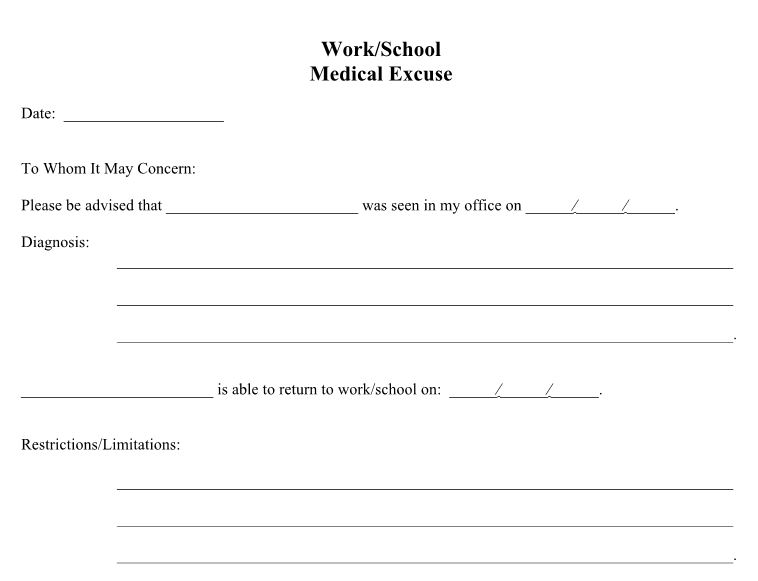 Free Doctor S Note Excuse Note Templates Template Section