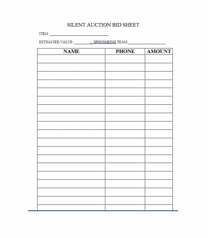 Free Silent Auction Bid Sheet TemplatesWordExcel  Template Section