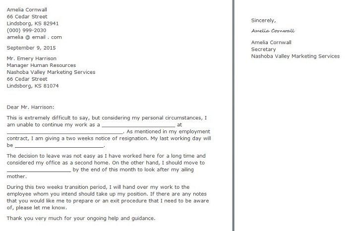 Free Resignation Letter  Two Weeks Notice Letters TemplatesFormal
