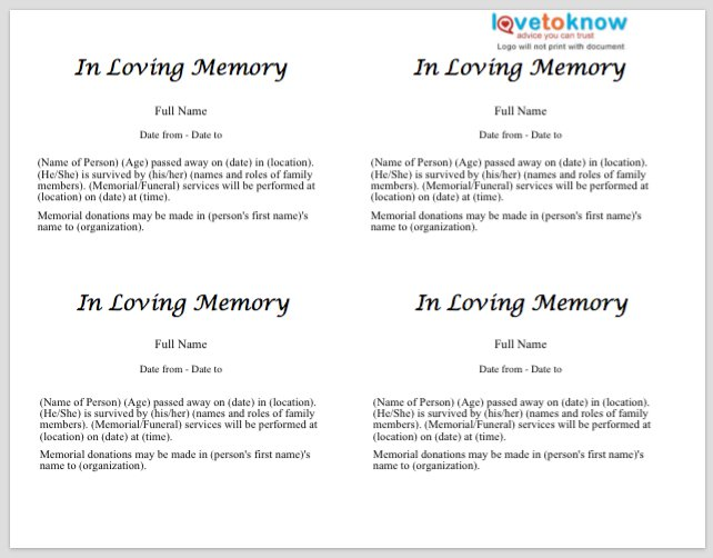 Free obituary templates word pdf sample template section for Writing obituaries templates