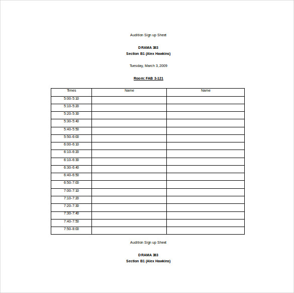 sign up sheet template for word