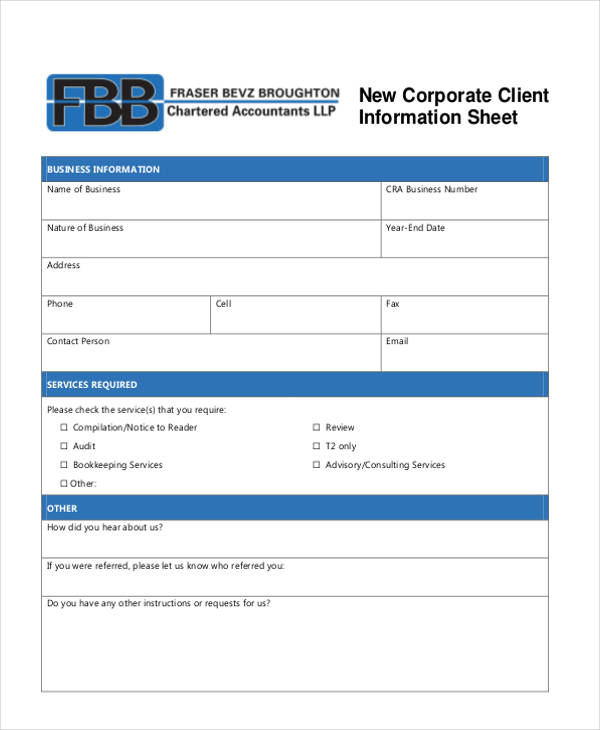 Client Information Sheet Templates - 5+ Blank Samples - Template Section