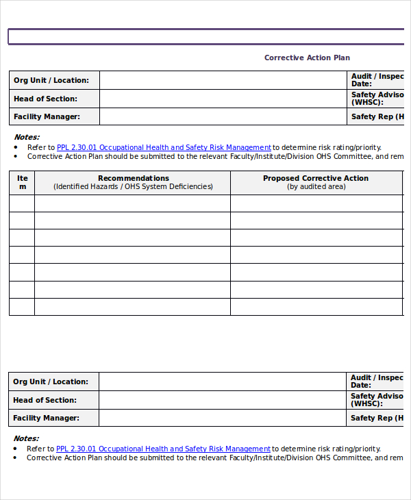 Action Plan Template - 15 + Emergency, Corrective, Incident ...