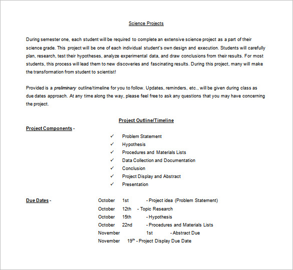 Project Outline Template 10 Free Word Excel Pdf Template Section