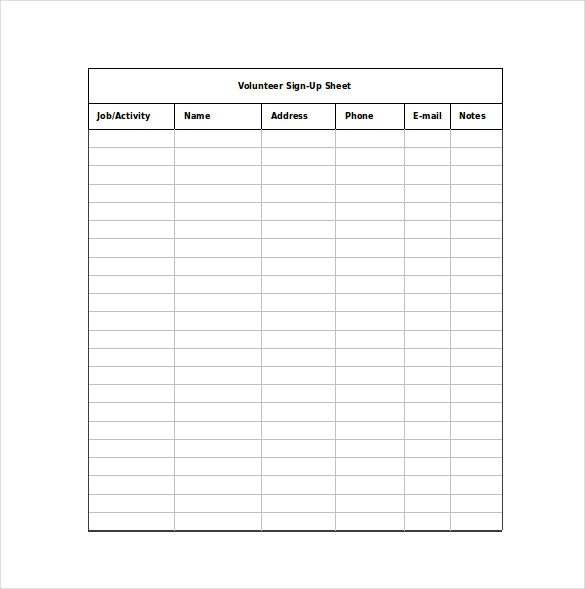 12+ Sign Up Sheet Templates - Free Excel Word Sample - Template Section