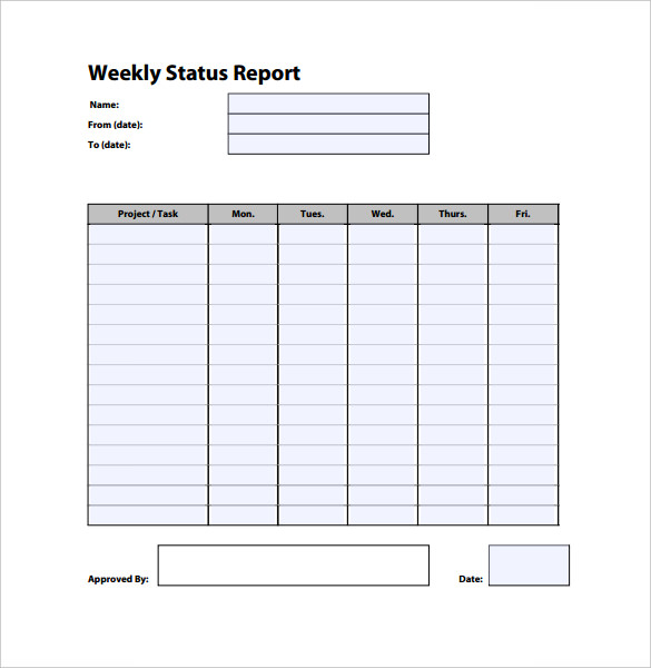Weekly Report Template, Weekly Status Report Template