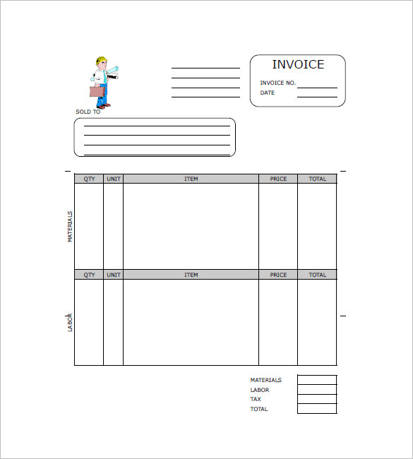 Contractor Invoice Templates Free Excel Word PDF Template - Free editable invoice template word
