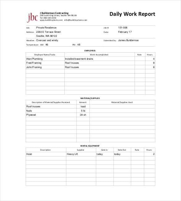 Daily Report Templates   Free Samples Excel Word  Template Section