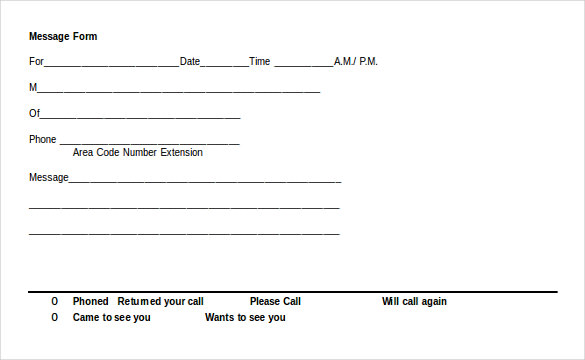 phone call message template