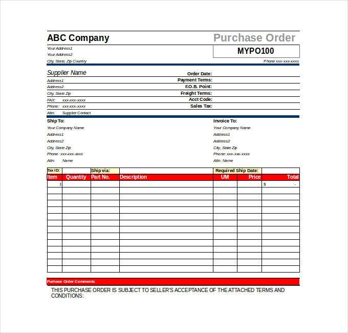 Purchase Order Template Excel  Purchase Order Template Word