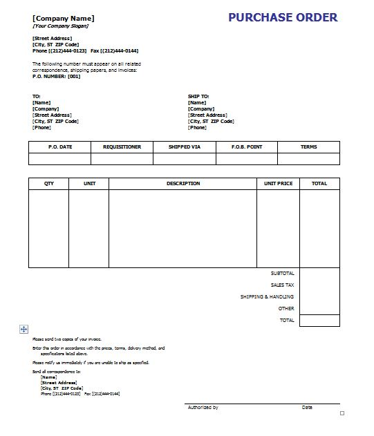Free Purchase Order Template  Purchase Order Word Template
