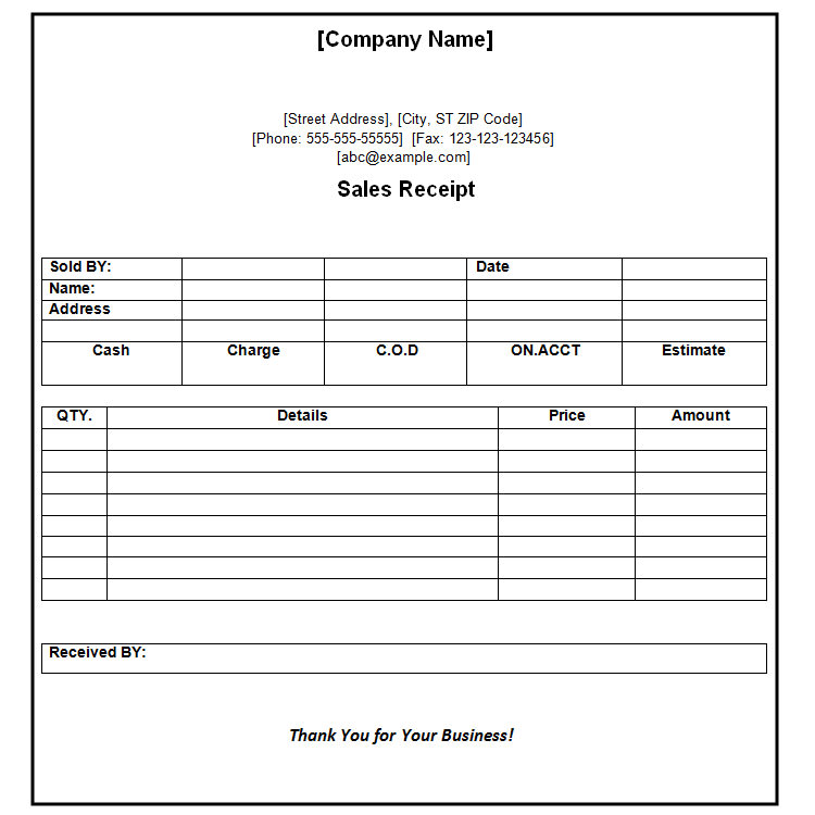 Payment Receipt Template – 10+ Free Word Excel – Template Section